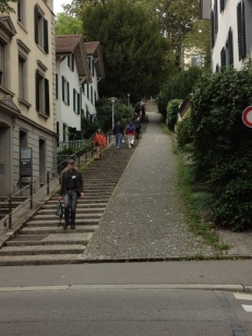250+ steps from our house to center of town will keep us in shape