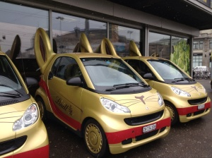 Lindt bunny cars