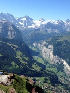 looking down over Wengen and Lauterbrunnen valley