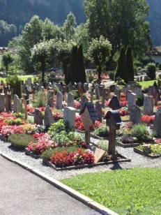 Swiss cemetery with flowers everywhere